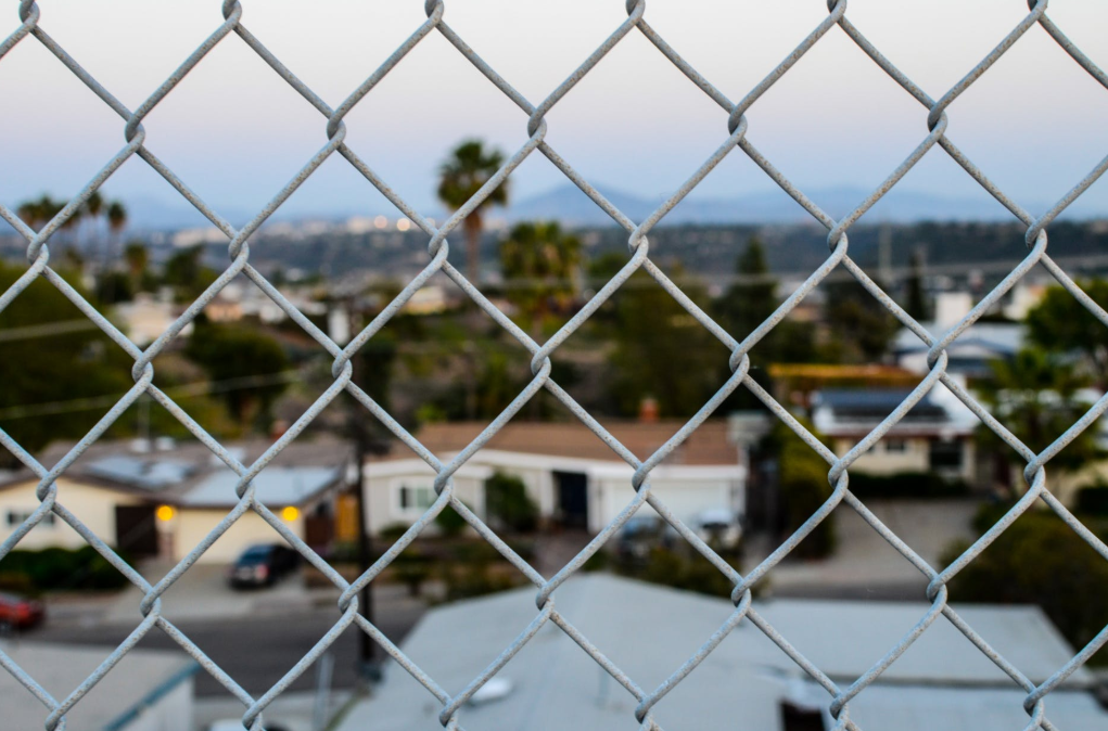 this image shows chain link fence in Fullerton, California
