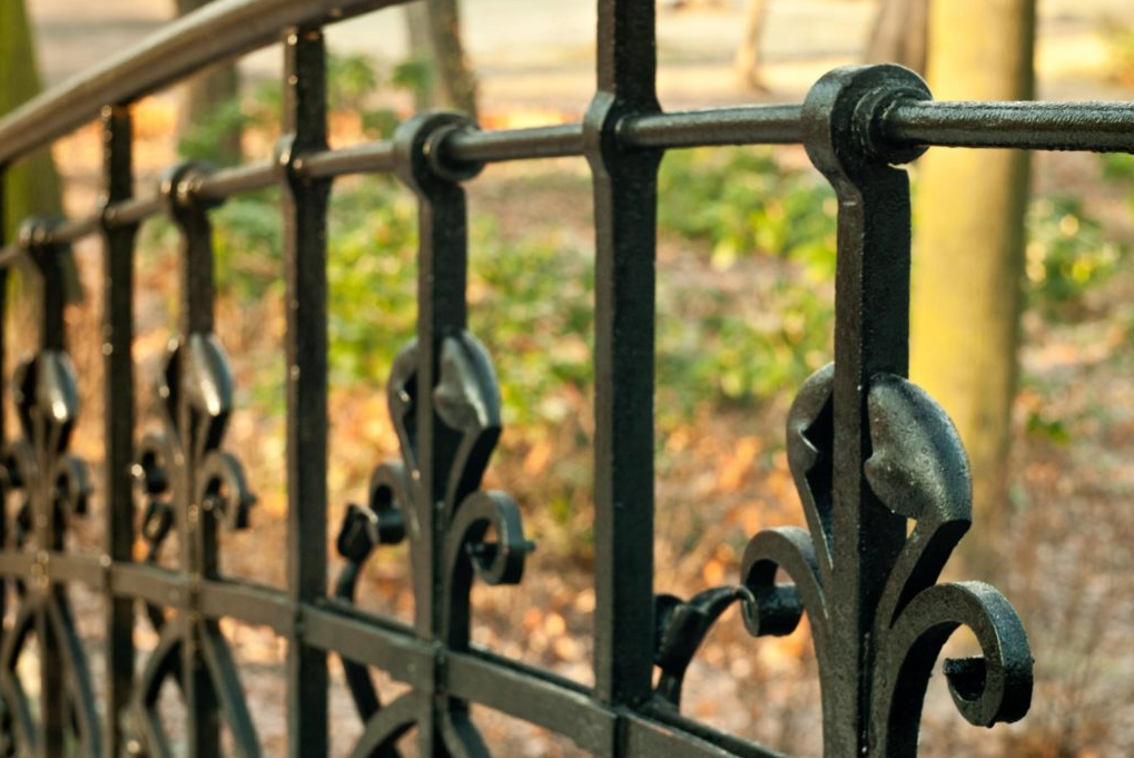 this image shows wrought iron fence in Fullerton, California